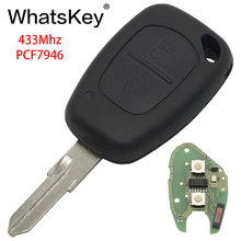 WhatsKey Car Remote Key Fit For Renault Vivaro Traffic Master Clio Scenic Movano Kangoo ID46 PCF7946 Chip 433Mhz NE73 Blade free shipping 1 button remote key case for renault kangoo with battery clip ne73 blade 10piece lot