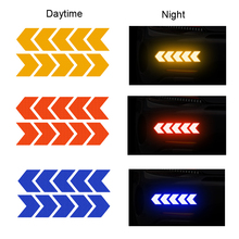 10pcs Warning Tape Strip Car Reflective Sticker Arrow Tape Reflector Car Safety Mark Film Decals Motorbike Home Backpack