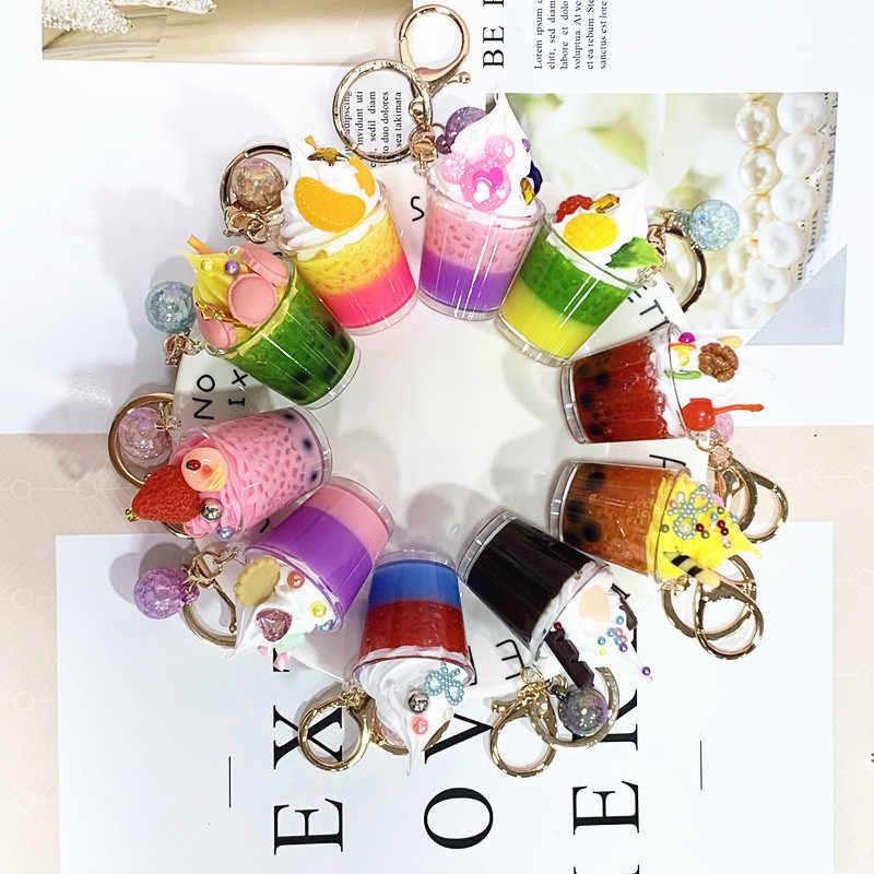 Creative קרח קרם מזון מחזיקי מפתחות אופנה סימולציה חמוד קריקטורה מפתח שרשרת יוניסקס רכב תיק תליון אביזרי מפתח טבעת