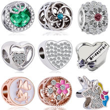 New Fashion Crystal Hollow Tree Horse Butterfly Letter Heart Mickey Beads Fit Pandora Charms Bracelets for Women DIY Jewelry(China)