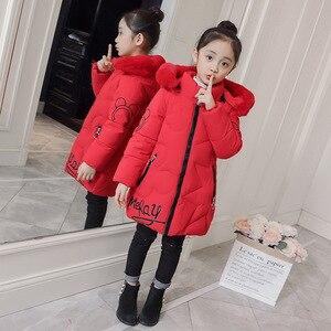 Image 2 - 2019 neue Ankunft Kinder Winter Jacke für Mädchen Kinder Mit Kapuze Warme Mäntel Baumwolle Gepolsterte Parka Mädchen Cartoon Print Unisex Outwear