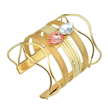 120pcs/Lot Open Wide Gold Bangle for Women Arm Cuff Bracelets Metal Hollow Big Bangles Fashion Jewelry Accessories Wholesale