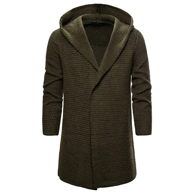 New Autumn Cardigan Sweatercoat Men Loose Hooded Knitwear Sweater Trend Men Clothing Long Cardigan Sweater Army Green/Khaki