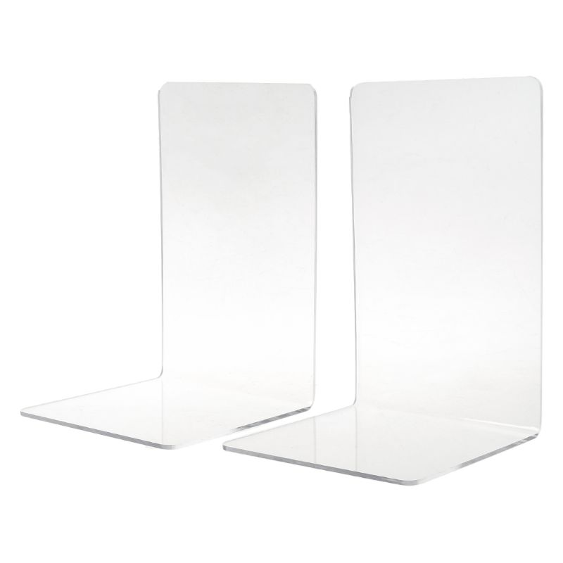 2Pcs Clear Acrylic Bookends L-shaped Desk Organizer Desktop Book Holder School Stationery Office SuppliesWholesale Dropshipping