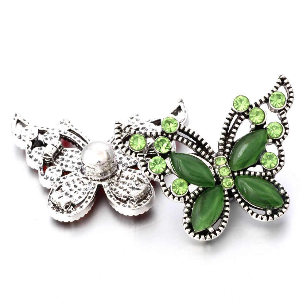 6 sztuk/partia wielu styl Rhinestone motyl zatrzaski biżuteria Fit 18mm zatrzask metalowy przycisk biżuteryjny bransoletka Zrób To Sam