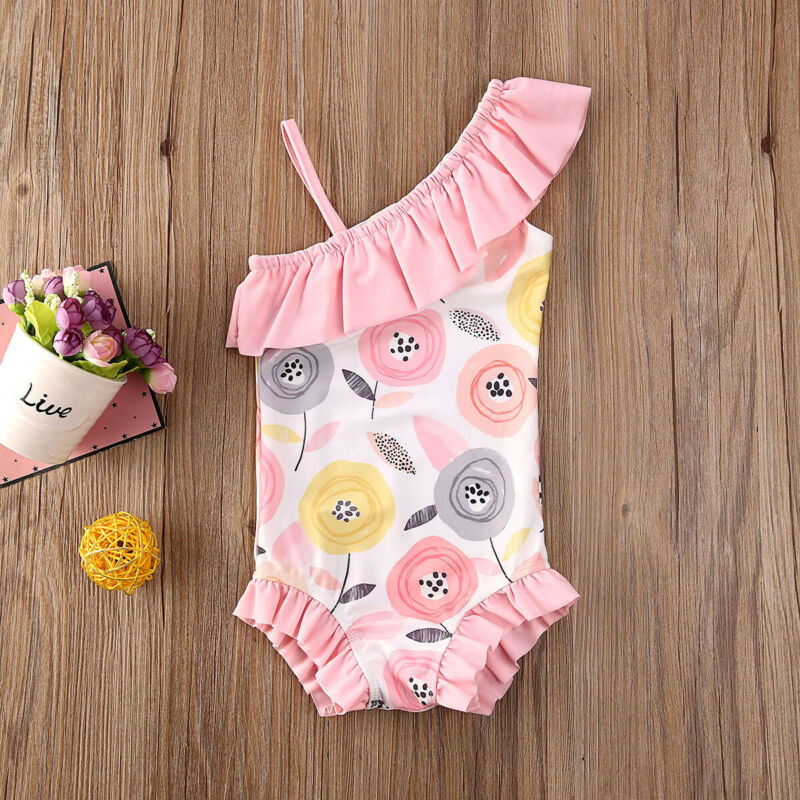 1-5 Years Children Girls Swimsuits Daffodil Floral Print Pink One Piece Swimwear For Girl Summer One Shoulder Girl Swimming Suit