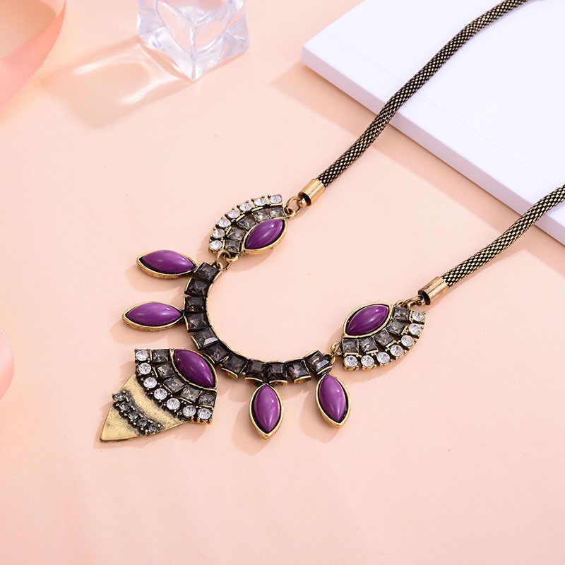 Shineland Vintage ethnique ensemble de bijoux violet résine pierre géométrique colliers et pendentifs boucles d'oreilles pour les femmes cadeau pas cher en gros