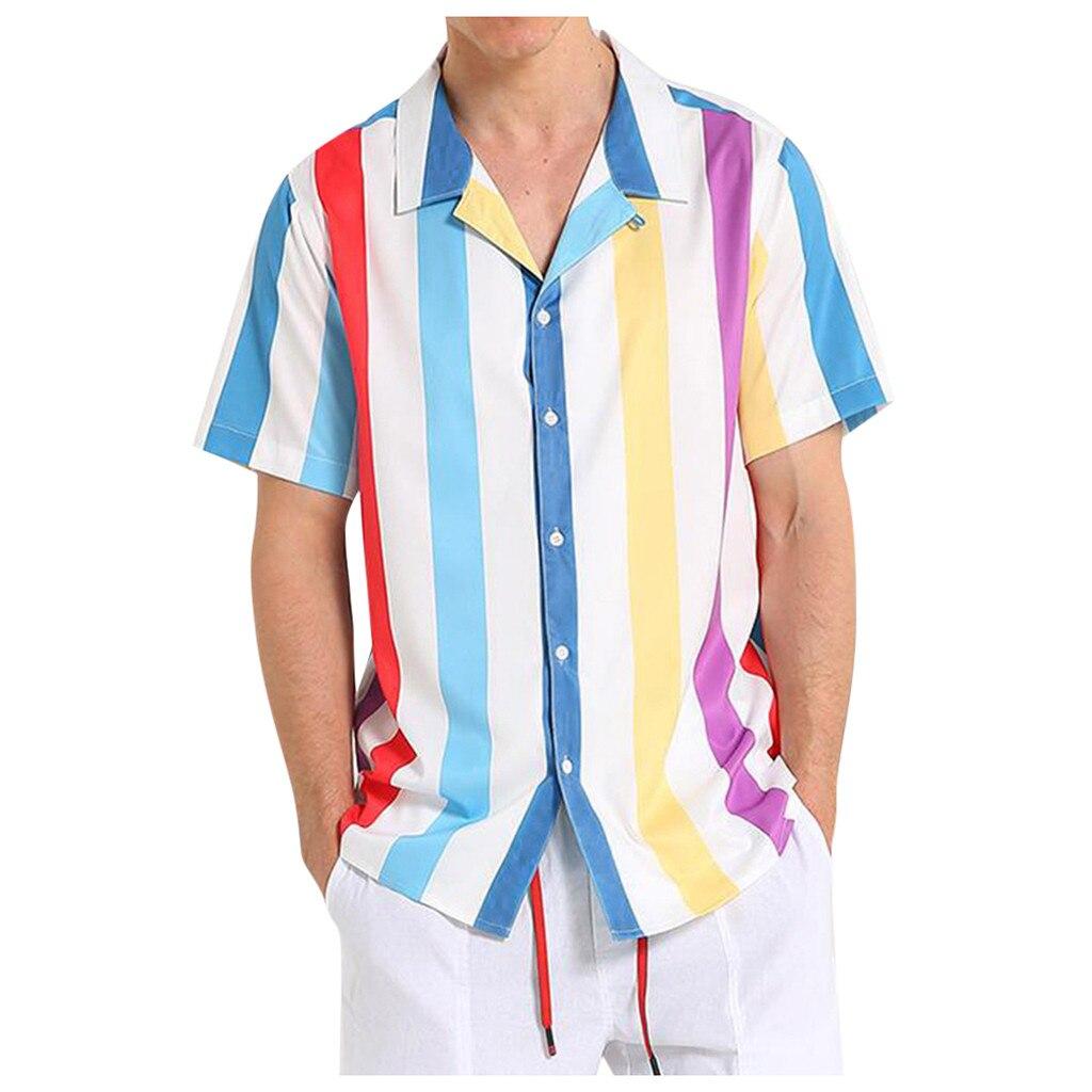 Men Short Sleeve  Striped Button-down Shirt  Men Blouse Comfort Summer Tops Plus Size Men's Shirts Winter Fashion Purchasing