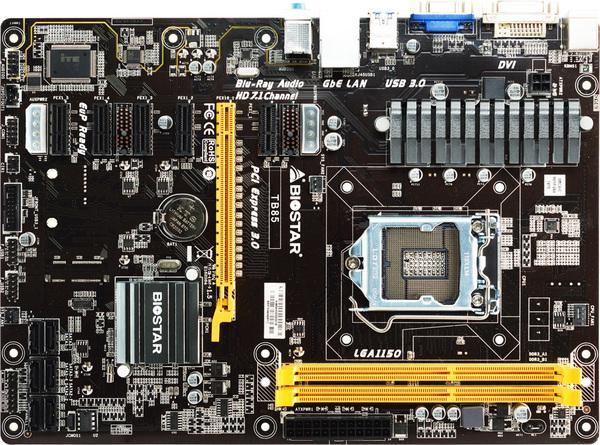 Используется, 6PCI-E профессиональная майнинговая материнская плата BTC PRO для настольного ПК Biostar TB85 B85 LGA 1150 DDR3 16G SATA3 USB3.0