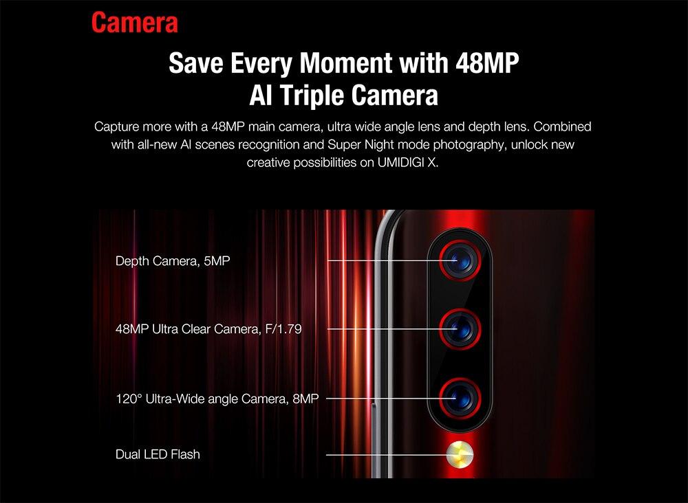 "H06bc50122f80433fb1add5994a64a989q Global Version UMIDIGI X In-screen Fingerprint 6.35"" AMOLED 48MP Triple Rear Camera 128GB NFC Helio P60 4150mAh Cellphone"
