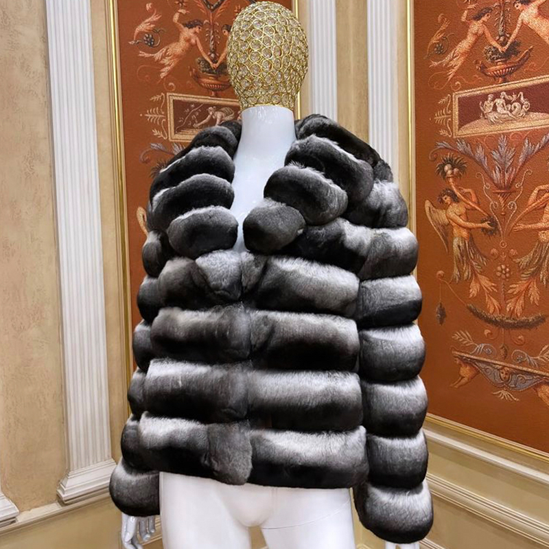 Ladies Classic Fur Coat With Lapel Real, How Much Is A Real Chinchilla Fur Coat