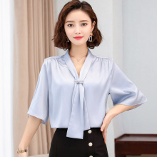 Korean Silk Women Blouses Women Satin Shirt Tops Plus Size Woman Solid V Neck Blouse Top Blusas Mujer De Moda 2020 Woman Bow Top