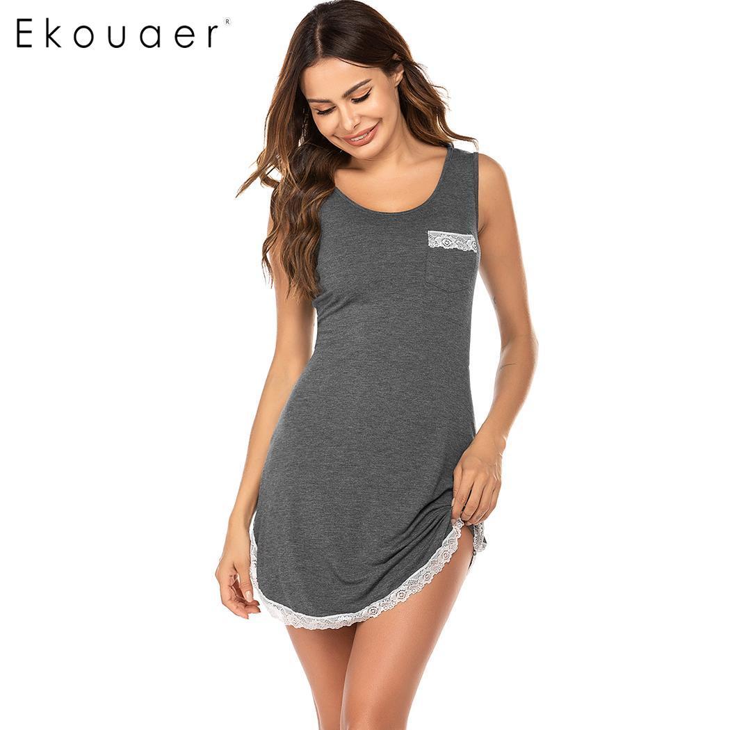 Ekouaer Summer Nightgown Women Soft Sleepwear Nightdress O-Neck Sleeveless Lace Patchwork Sleepshirts Night Dress Loungewear