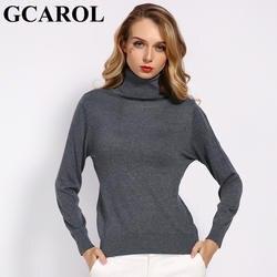 Женская теплая водолазка GCAROL, вязаный свитер в офисном стиле из мягкой 30%-ной шерсти размеров S-3XL на осень и зиму