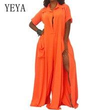 YEYA Elegant Femme Short Sleeve High Split Loose Long Rompers Women Vintage Casual Hollow Out Summer Beach Jumpsuits