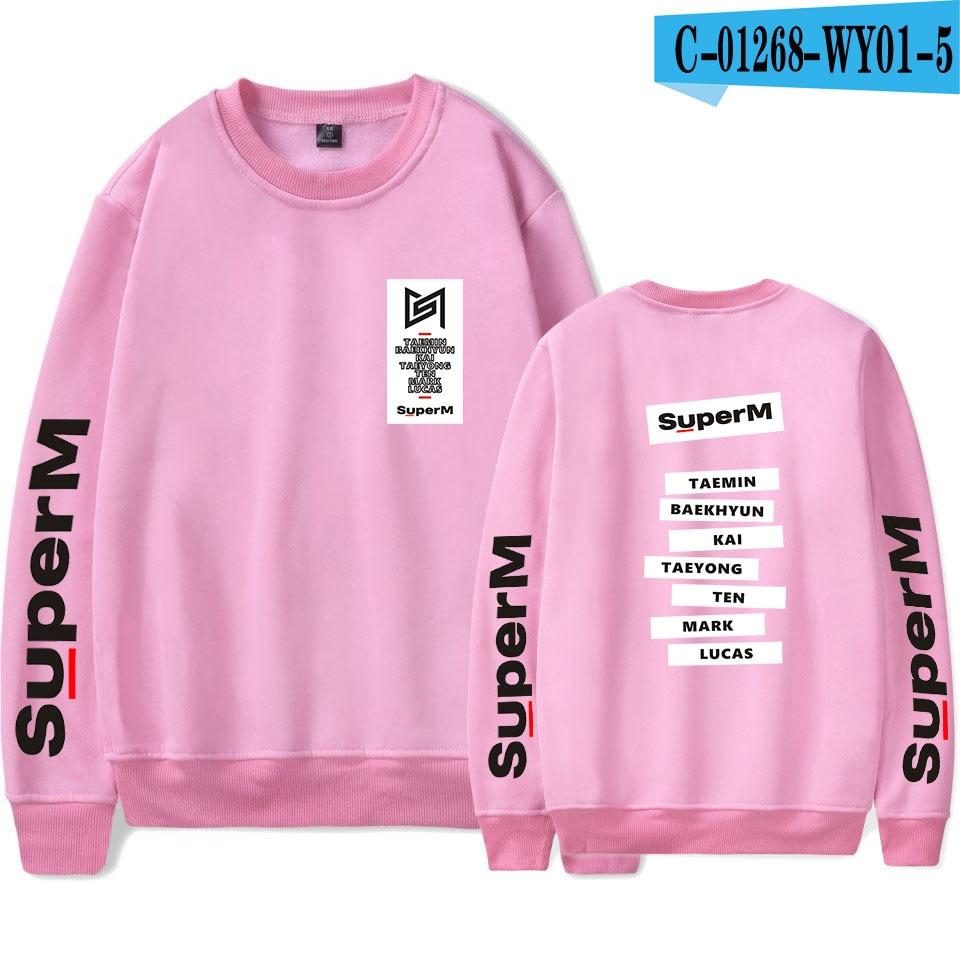SuperM Korean Stylish Kpop Harajuku Printed  Harajuku Round Collar Sweatshirt Women/men College Stylish 2019 New Sweatshirt 11