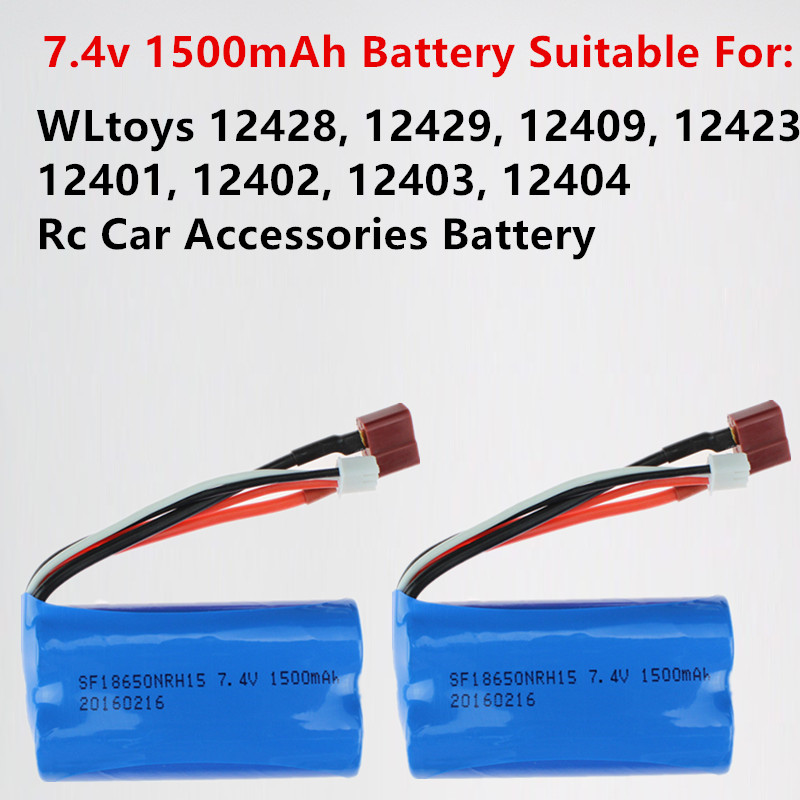 7.4v 1500mAh Battery Suitable For: <font><b>WLtoys</b></font> 12428, 12429, 12409, 12423, 12401, 12402, 12403, <font><b>12404</b></font> RC Car Accessories Battery image