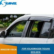 цена на Side Window Deflectors For VW TIGUAN 2011 2012 2013 2014  2015 2016 Window Deflector Visor Rain Sun Guard Vent Car styling  SUNZ
