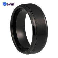 Для мужчин женский черный Вольфрам Карбидное кольцо ступенчатые
