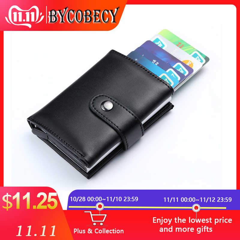 BYCOBECY, новинка, модный кожаный кошелек, с пряжкой, кошелек для карт, Ретро стиль, для мужчин и женщин, отделение для кредитных карт, карманная коробка, бизнес, наборы для ID карт
