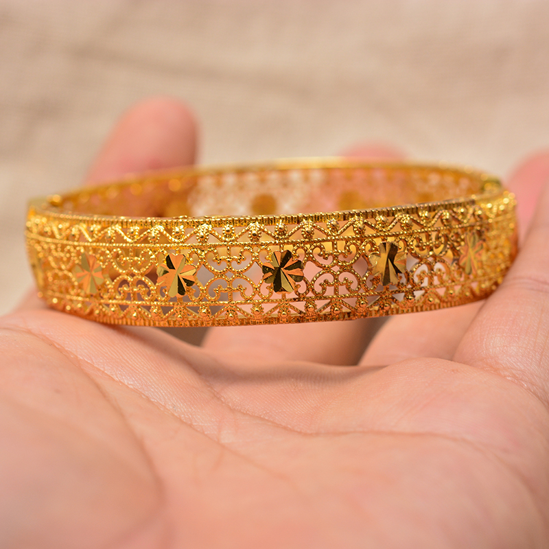 24K Dubai Can open Bangles Mother Women Girl Ethiopian Jewellery  Bracelets for Women Arab African Wedding Jewelry Party Gifts