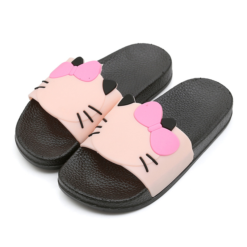 Kitty Cat Bowknot Children Beach Slippers Baby Girls Shoes Kids Anti-Slippery Outdoor Sandles Soft-Sole Home Footwear Bathroom