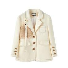 Женский однотонный Блейзер бежево белый шерстяной пиджак свободного