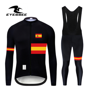 EYESSEE Brand Team Spain Cycling Clothing Top Quality Autumn fit lightweight fabric Cycling Jersey Set MTB Bike Bicycle Clothing