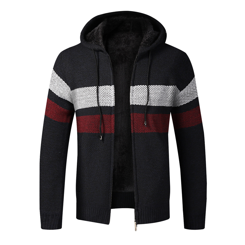 Men Winter Sweater Jacket Thick Fleece Sweatercoat Warm Hooded Cashmere Cardigan Coat Striped Knitted Zipper Sweaters Size 3XL