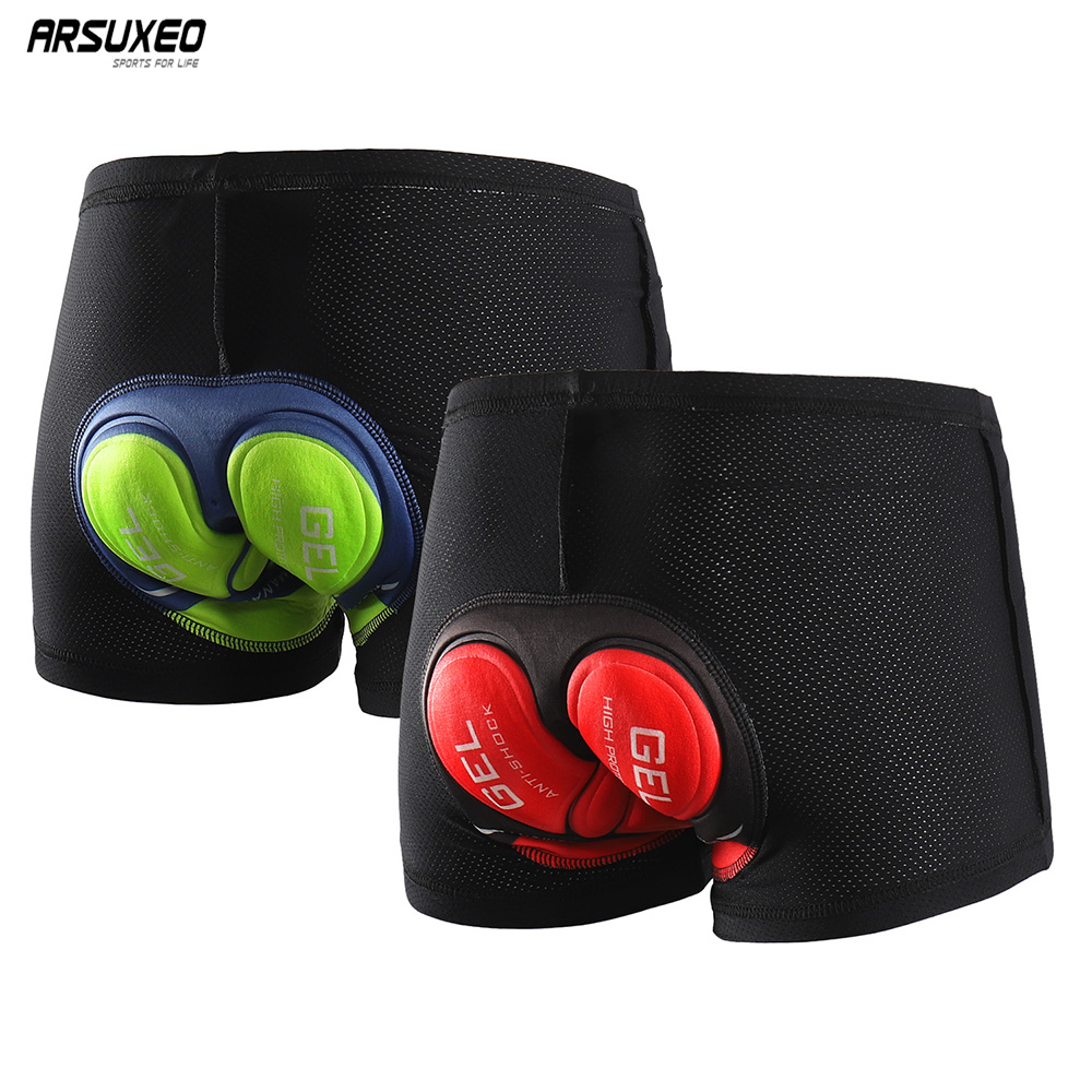 ARSUXEO Men Women Cycling Underwear 5D Gel Padded MTB Mountain Bike Shorts Cycling Shorts Compression Breathable 001B