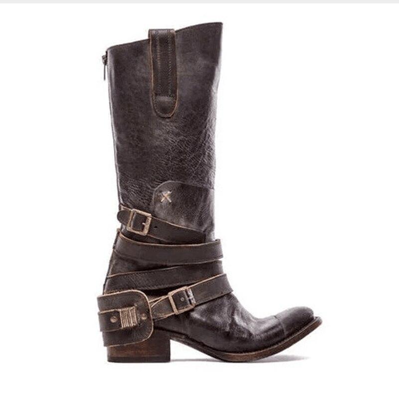 LZJ nouvelles femmes genou bottes en cuir véritable automne hiver 6.5cm épais talons hauts chaussures Sexy fête mariage marque chaussures femme