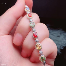 jewelry 925 sterling silver natural color sapphire rare net body female bracelet big gem fire beautiful support detection
