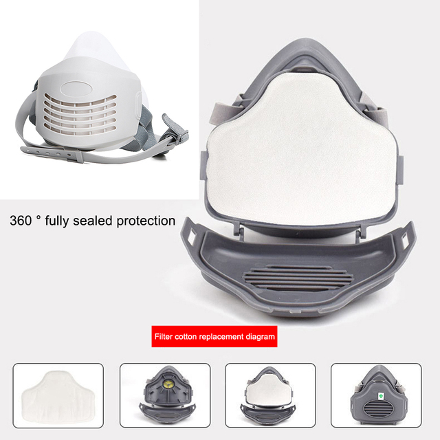 Anti Dust PM2.5 Mask Respirator Mask Industrial Protective Silicone Mask and Replaceable Cotton Anti-Dust Breathable Mask Filter 2