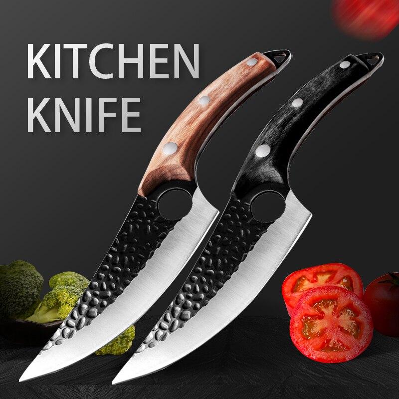 Нож мясника 5,5 дюйма, кованый нож для костей, кухонный нож из нержавеющей стали для мяса, костей, рыбы, фруктов, овощей, поварской нож в сербск...