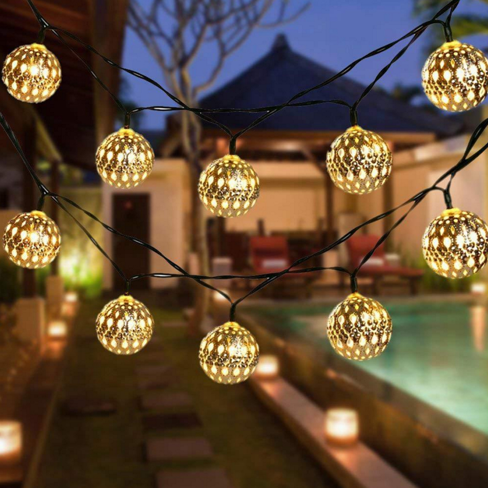 Christmas Garland Ball Lights 3M 20LED 6M 40LED Party Wedding LED String Fairy Lights Solar/Battery Powered Holiday Decor Light