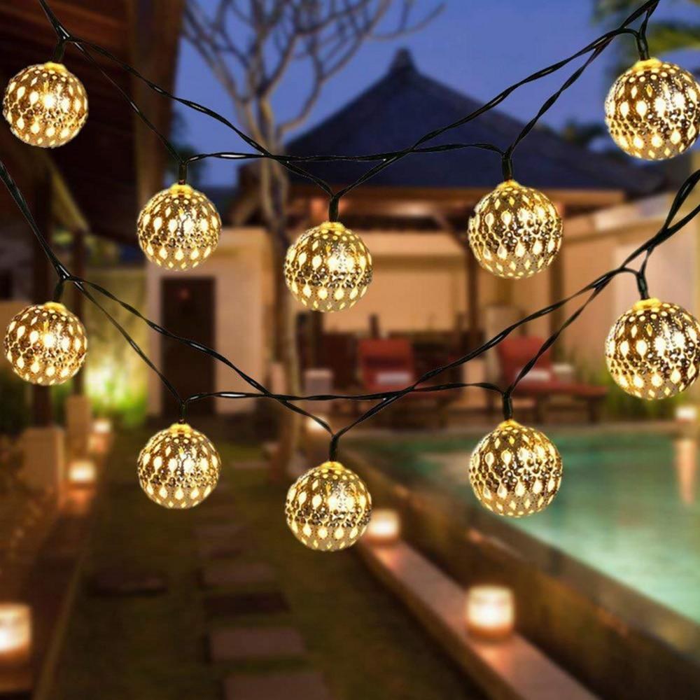 Christmas Garland Ball Lights 3M 20LED 6M 40LED Party Wedding LED String Fairy Lights Solar/Battery Powered Holiday Decor Light