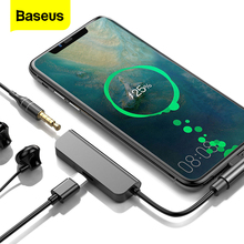Baseus USB Type C to 3.5mm Jack Earphone Aux Adapter PD 18W USB C Type C OTG Cable For Huawei Samsung Note 10 Plus USBC Splitter