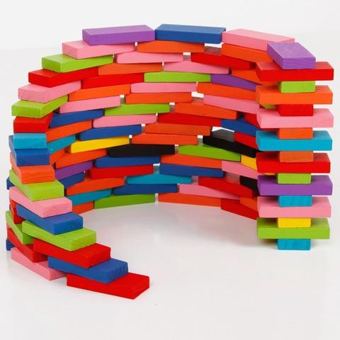 120 pcs set criancas brinquedo de madeira colorido domino jogo blocos de construcao cor do