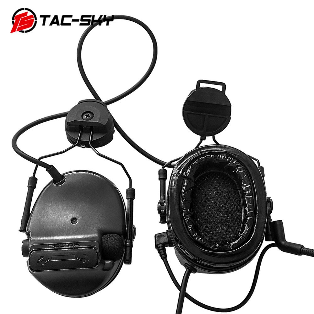 TAC-SKY COMTAC III Helmet Bracket Silicone Earmuff Version Military Tactical Noise Reduction Pickup Interphone Headset BK