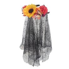 Women Halloween Artificial Flower Headband Wreath Simulated Butterflies with Spider Web Lace Veil Crown Festival Hair Hoop Props