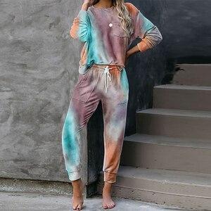 2020 Autumn Tie Dye pajama set women Sleep Wear Sleepwear Set Pjs Women's Pajamas Set Lounge Wear Sleeping Set Women Nightwear