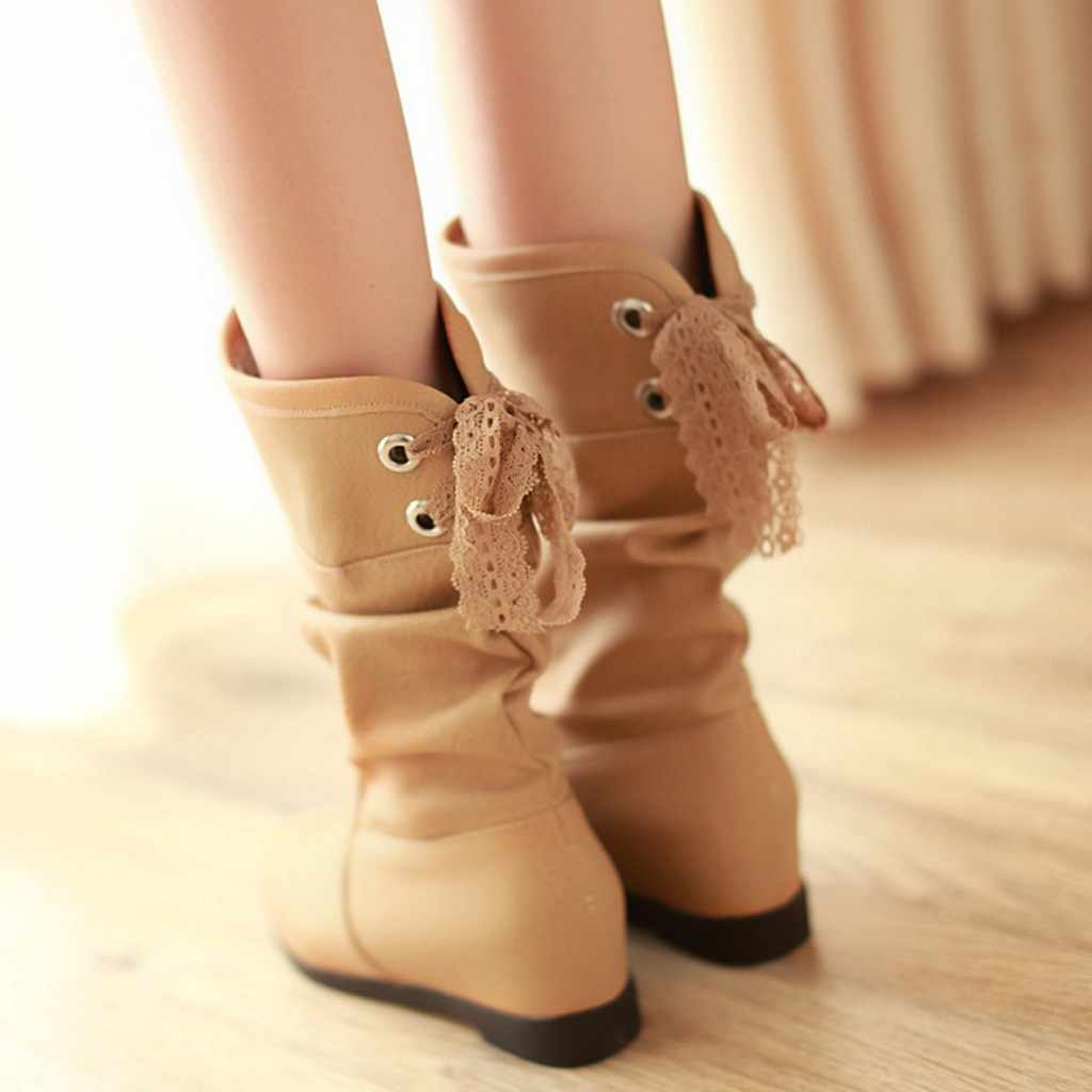 Women Boots Increase Within Student Casual Middle Tube Large Size Boots High Quality Knee High Soft Leather Fashion Boot