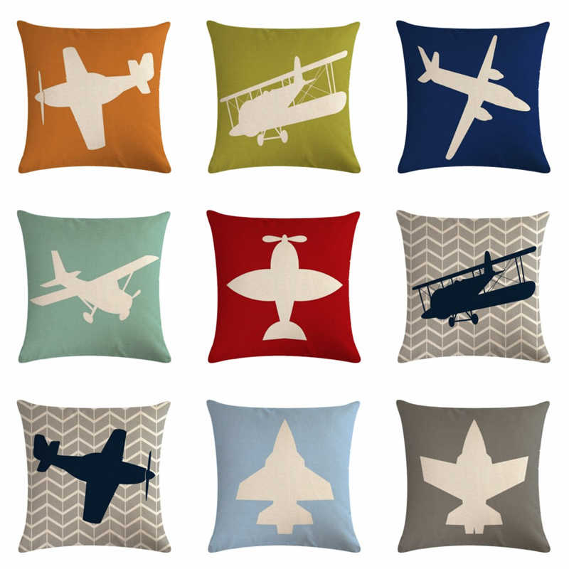Plane Helicopter Fighter Cotton Linen Pillow Case Sofa Cushion Cover Home Decor