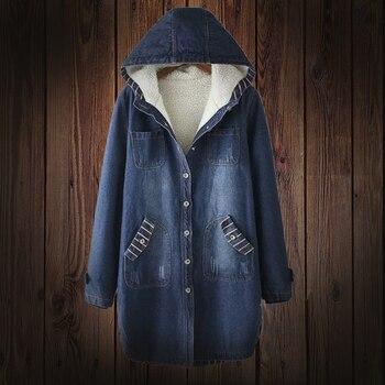 Spring Autumn Winter Women s jacket Hooded Denim Jacket Warm Fur Lining Long Outerwear Female
