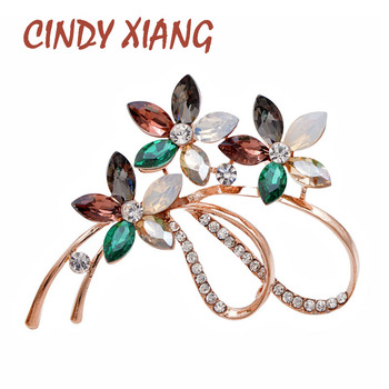 CINDY XIANG Crystal Flower Brooch Elegant Coat Brooches For Women Wedding Bouquet Jewelry 2 Colors Avaibale High Quality 2019 cindy xiang 4 colors avaibale crystal flower brooches for women wedding pin pendant brooch spring new arrival high quality gift