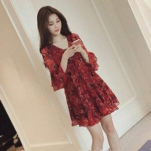 KANCOOLD DRESS Fashion Women V-Neck Three Quarter Sleeve Flare Sleeve Mini Printed A-line Dress summer new dress momen 2020jan22