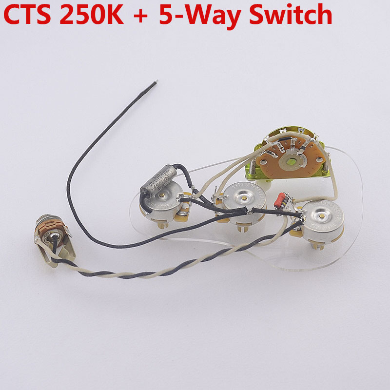 Loaded Pre-wired Electric Guitar  Wiring Harness Prewired Kit   ( 3x 250K Brass CTS Pots + 5-Way Switch )