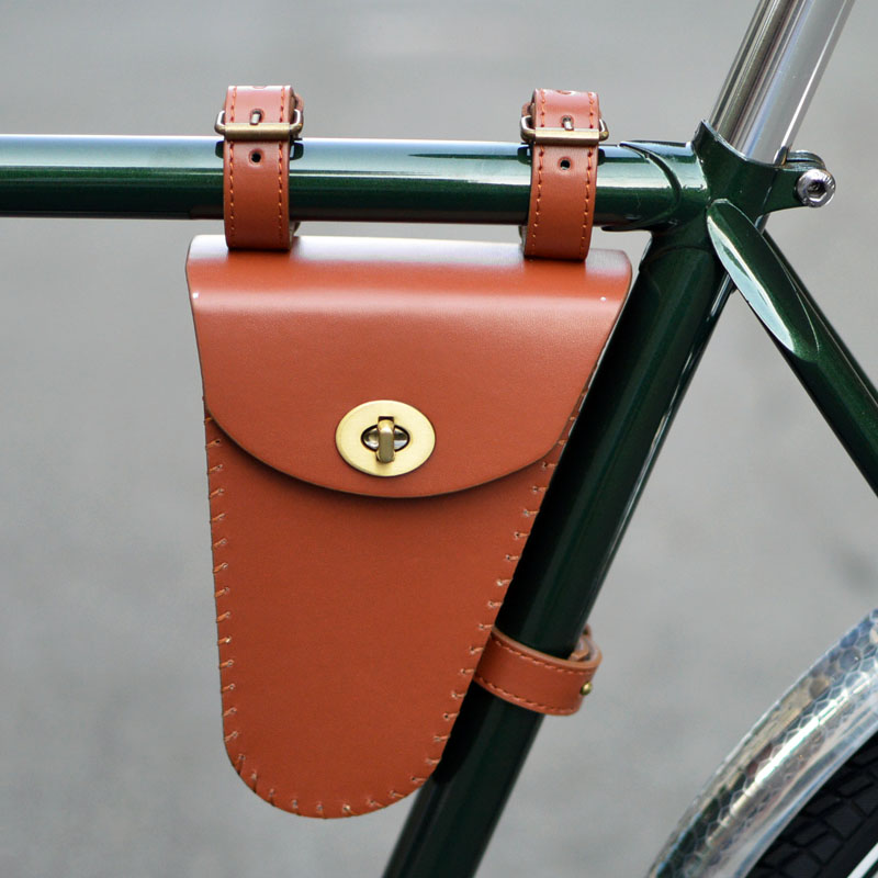 Купить с кэшбэком Cycling tool bags Retro bicycle with beam triangle bag kit beam bag bag leather nostalgic classic style G05