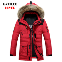 40 Degree Cold Resistant Russia Winter Jacket Mens Top Quality Genuine Fur Collar Thick Warm White Duck Down Men's Winter Coat