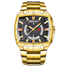 BENYAR メンズ腕時計ビジネスゴールデンステンレス鋼メンズクォーツスポーツウォッチファッショントップブランドクリエイティブ防水腕時計
